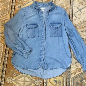 Cotton On Blue Chambray Button Down Shirt